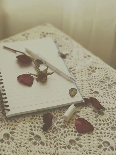 High angle view of wilted rose with pen on spiral notebook