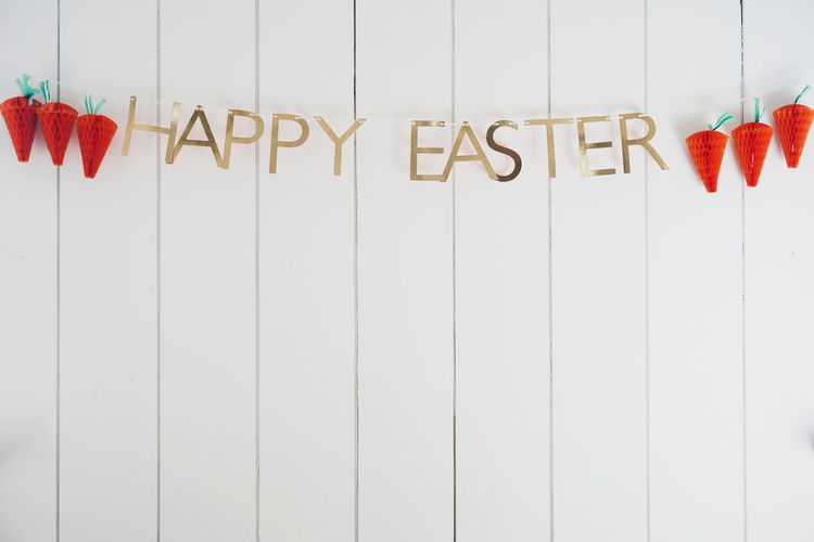 Happy Easter Carrot Carrots Day Easter Easter Ready Hanging Happy Easter Happy Easter! No People Retail  Text Variation Wall White Background