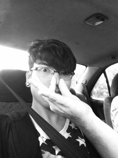 Me... Taking a selfie while the Boyfriend grabs at my nose.. Bleh!! Check This Out Hello World Hanging Out Black And White Poetry Be Your Self Lovers