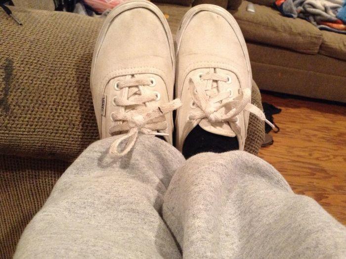 White vans and sweatpants (;
