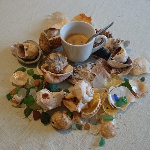 Coffee Surrounded By Conch Shells And Stones