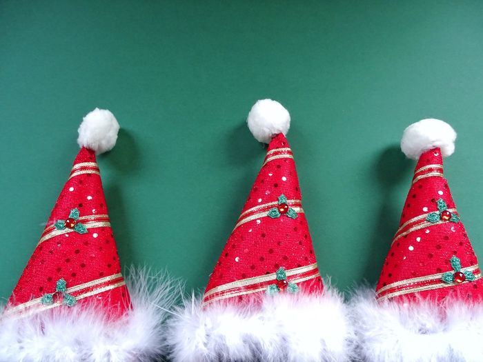 Christmas Christmas Decoration Christmas Tree Close-up Celebration Celebration Event Indoors  Tradition Holiday - Event Christmas Ornament No People Santas Hat Hat Green Background Green Red Hat