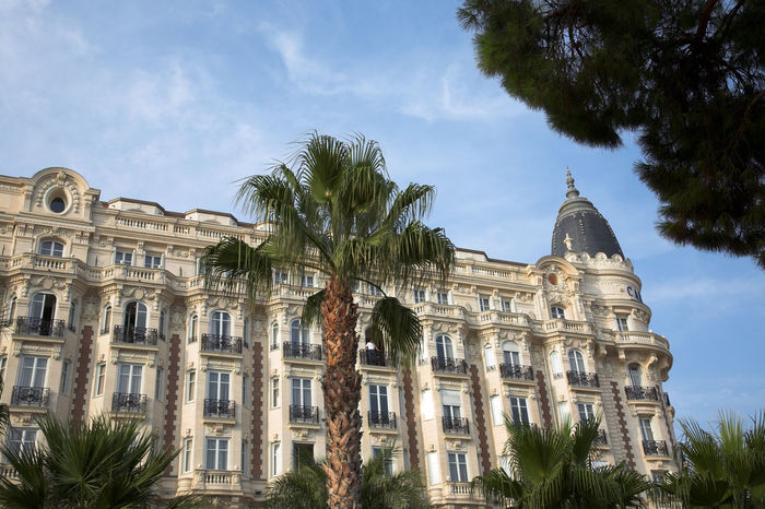 Belle Epoque architecture in Cannes, Croisette Avenue Architecture Avenue Belleepoque Blue Sky Building Exterior Built Structure Cannes CannesFilmFestival Carlton City Croisette Day Famous Place Façade Hotel Low Angle View Luxury Luxurylife Outdoors Palm Tree Pine Tree Sky Sunny Day Sunset Travel Destinations