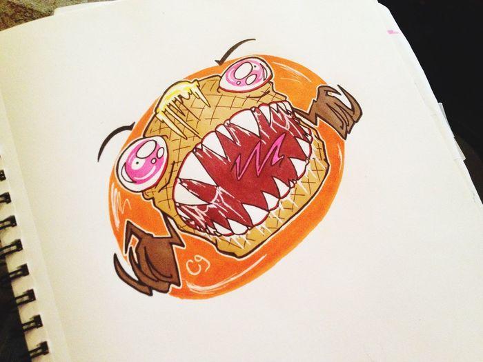 Monster Art Doodle Cartoon Cute Sketch Commissionwork Creepy Drawing Waffle