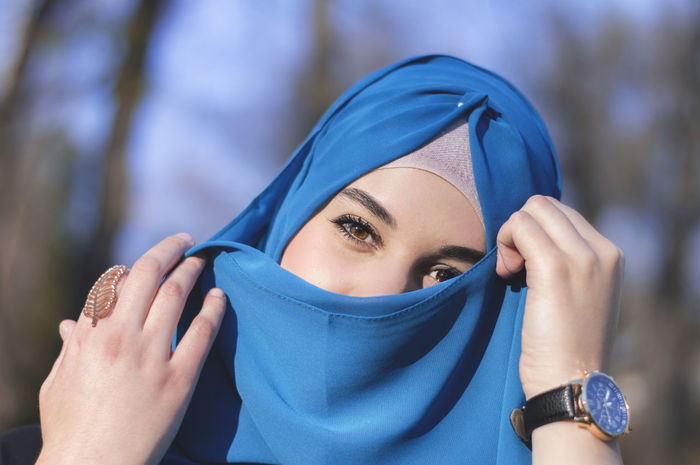 Beautiful Beauty Blooming Blossoms  Blue Clothes EyeEm Best Shots Eyes Face Fashion Flowers Headwear Hijab Islam Muslim Nature Park Portrait Portrait Of A Woman Religion Rosé Spring Wear Week On Eyeem White