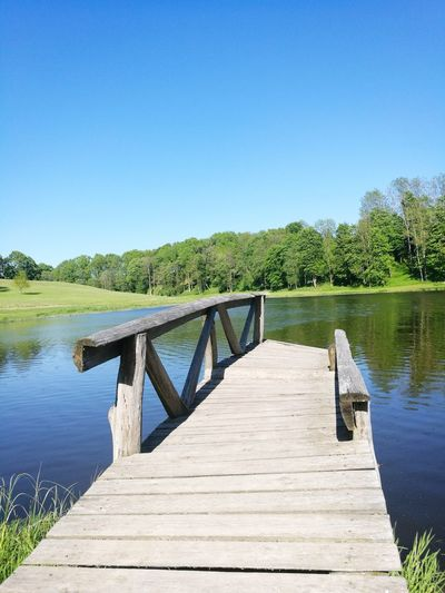 Water Lake Clear Sky Pier Nature Outdoors Beauty In Nature Wood - Material Summer No People Lithuania Nature Lithuania Rural Scene Day EyeEmNewHere Close-up Bridge Over Water Bridge Rural Photography