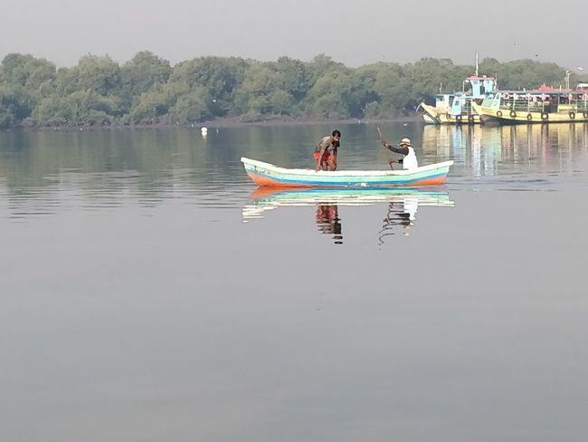 Water Nautical Vessel Transportation Mode Of Transportation Waterfront Lake Reflection Day Nature Beauty In Nature Scenics - Nature Tranquility Tranquil Scene Sky Non-urban Scene Travel Outdoors Two People People