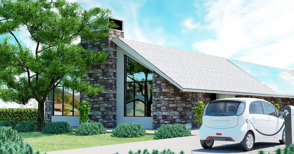 Electric car with ecological house, 3d Architecture Building Exterior Built Structure Car Day Ecological House Ecology Electric Car Energy Land Vehicle Mode Of Transport No People Outdoors Photovoltaic Sky Solar Panel Solar Panels Stationary Transportation Tree