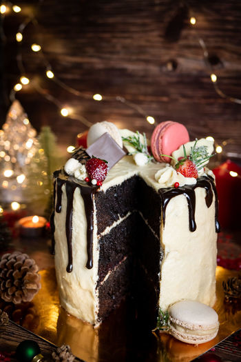 Food And Drink Sweet Food Food Sweet Indoors  Celebration Temptation Still Life Christmas Indulgence Dessert Cake Unhealthy Eating Close-up Holiday Freshness Decoration Table Ready-to-eat No People Christmas Cake