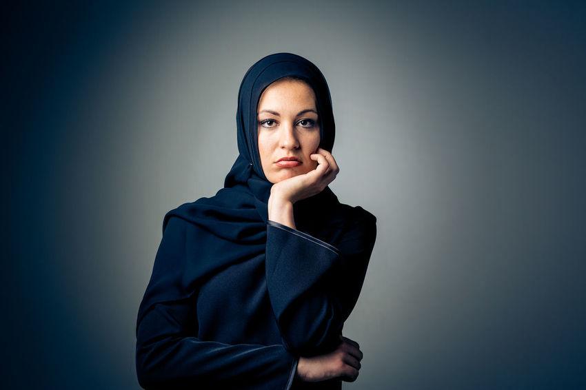 Abaya Arabian Arabic Black Dark Expression Face Hijab Islam Looking At Camera Muslim Muslimah Muslims One Person People Portrait Posing Studio Shot Traditional Clothing Women