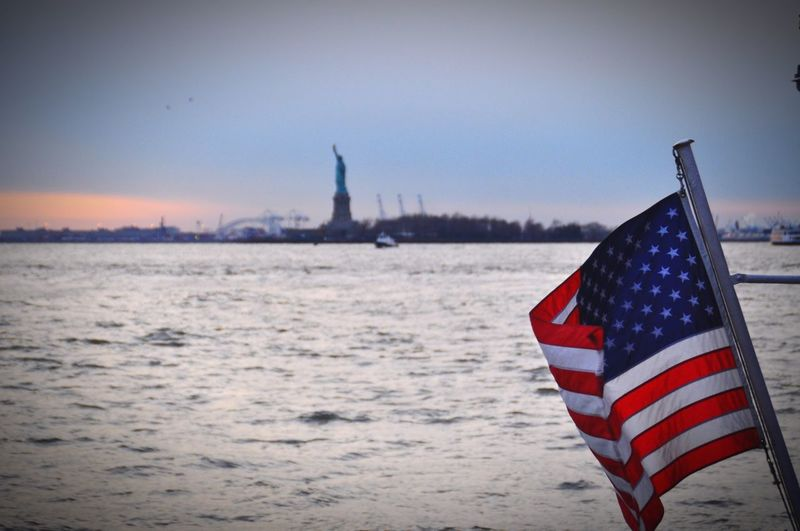 United States USA Statue Of Liberty Stars And Stripes City Patriotism Flag Cultures Pride Striped Independence Freedom Sky National Icon National Flag Sunset Shore Horizon Over Water Silhouette Waterfront