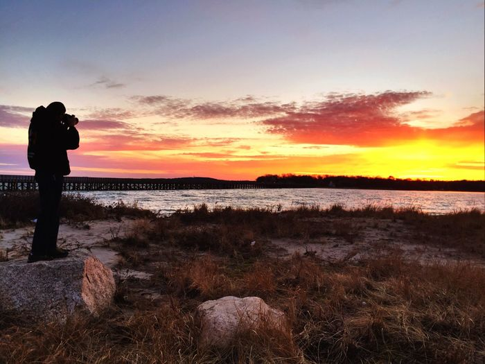 Taking Photos Duxbury, Ma Powder Point Bridge Sunset IPhoneography Wooden Bridge Winter Cold Water Clouds And Sky