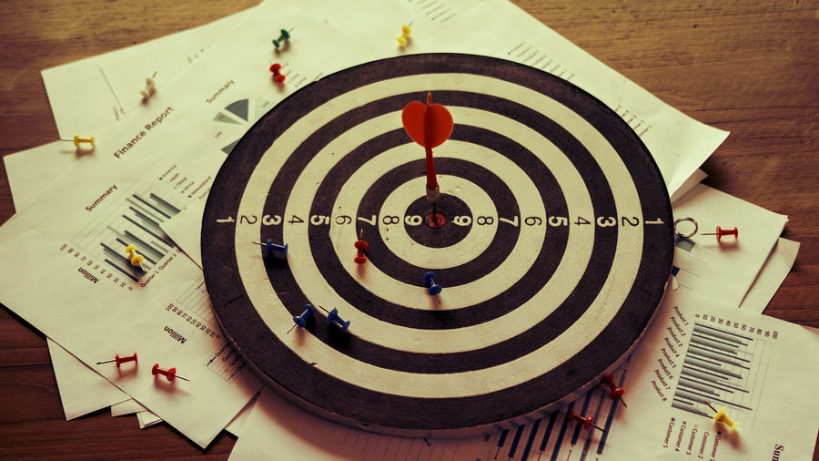 Setting goals for business success and commercial concepts Sports Target Accuracy Geometric Shape Circle Arrow - Bow And Arrow Sign Still Life Concentric Vision Dartboard Business Business Stories Chart Concept Development Diagram Idea Information Sign Leadership Plant Professional Marketing Motivation
