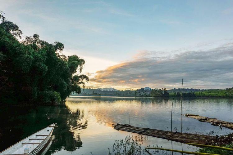""" Cipanunjang Lake"" Water Tree Lake Nautical Vessel Reflection Sunset Sky Landscape Cloud - Sky Reflection Lake Atmospheric Mood Dramatic Sky Romantic Sky Moody Sky Storm Cloud Atmosphere Sky Only Horizon Over Water Reflecting Pool"