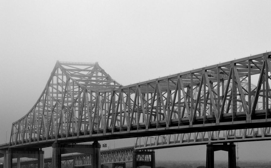 Bridge on a foggy morning. Architecture Black & White Bridge Bridge - Man Made Structure Bridges Built Structure City Life Connection Fog Foggy Morning Low Angle View Transportation Connections Steel Structure  Roadways Travel EyeEm Best Shots EyeEm Gallery EyeEmBestPics Eyeem Marketplace EyeEm Premium Collection Eyeemphotography Outdoors Man Made Object