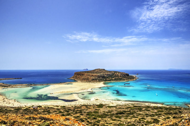 Balos Lagoon Beauty In Nature Blue Cliff Cloud - Sky Coastline Day Great Atmosphere Horizon Over Water Idyllic Nature Non-urban Scene Outdoors Rock Rock - Object Rock Formation Scenics Sea Sea And Sky Seascape Seaside Sky Tranquil Scene Tranquility Water