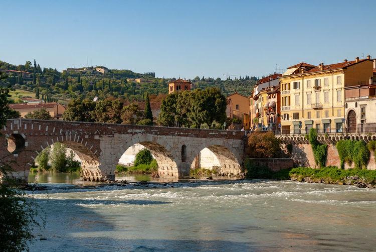 Arch Bridge Outdoors Travel Destinations Bridge - Man Made Structure City River Architecture Water Bridge Built Structure Waterfront Italy Verona Roman Stone Bridge Adige Adige River