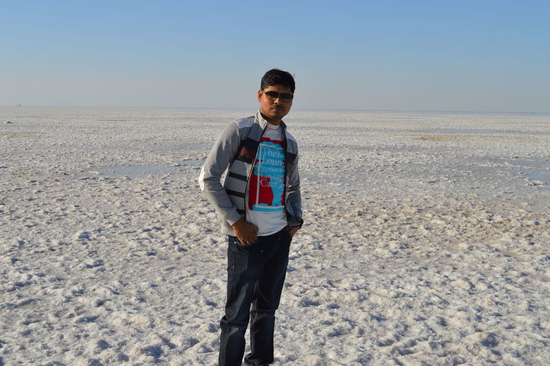 KutchRannUtsav Rann Of Kutch Solo Trip Solo Traveler! Clear Sky Cold Temperature Desert Front View Landscape Lifestyles Looking At Camera Love Yourself Nature One Person Outdoors People Portrait Real People Salt Desert Sand Sky Standing Winter Young Adult