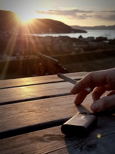 I love this shot Summervibes Chill Joint EyeCandy  Cannon Bench Table Trondheim Kristiansten Festning J Symetry Sunset Marijuana Herb Medicine Raw Papers