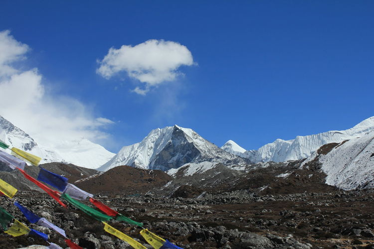 Prayer flags on snowcapped mountains of nepal
