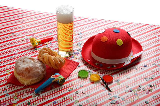 Holiday Tables on Vibrant colorful background - Carnival Party Beer Carnival Holidays Party Time Red Stripes Carneval Colorful Confetti Festive Food Food And Drink Indoors  No People Party Pastry Pattern Still Life Table Top View Topview White