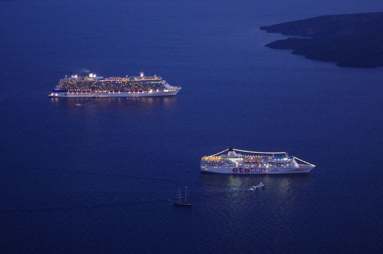 Cruise Ship GREECE ♥♥ Griechenland Griechische Inseln Santorini Island Santorini, Greece Architecture Beauty In Nature Building Exterior Built Structure Freight Transportation Greece Grichenland High Angle View Mode Of Transport Nature Nautical Vessel No People Outdoors Sailing Santorini Sea Ship Transportation Water
