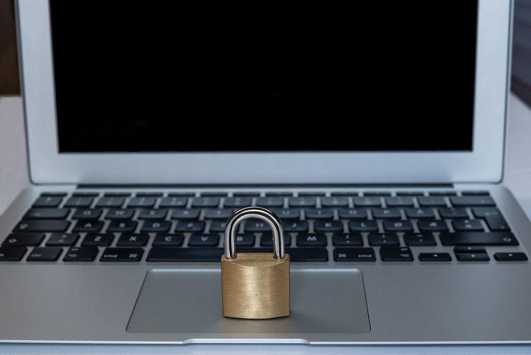 Close-up of lock on laptop