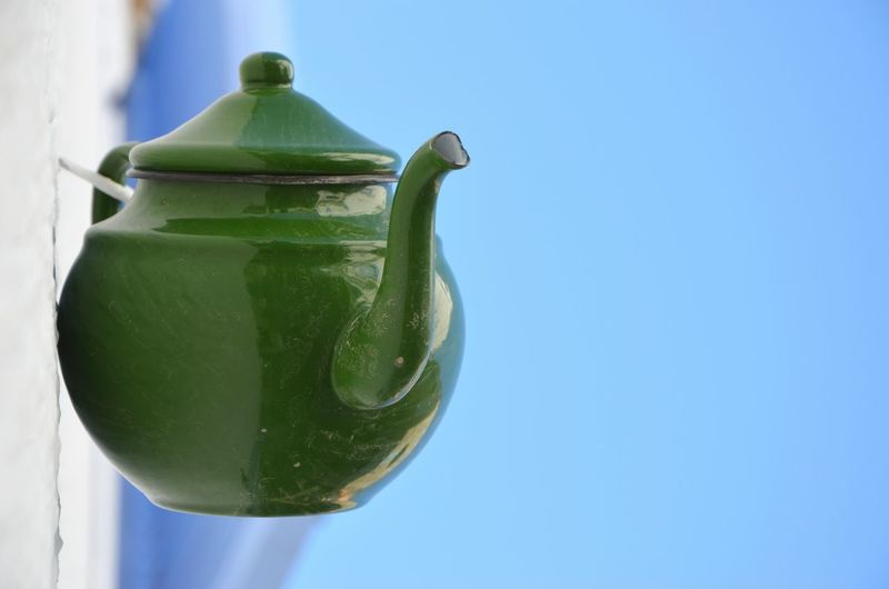 Green Color Teapot Clear Sky Close-up Outdoors Food And Drink Green Color Teatime Drink Tea Ceramics Decoration Wall