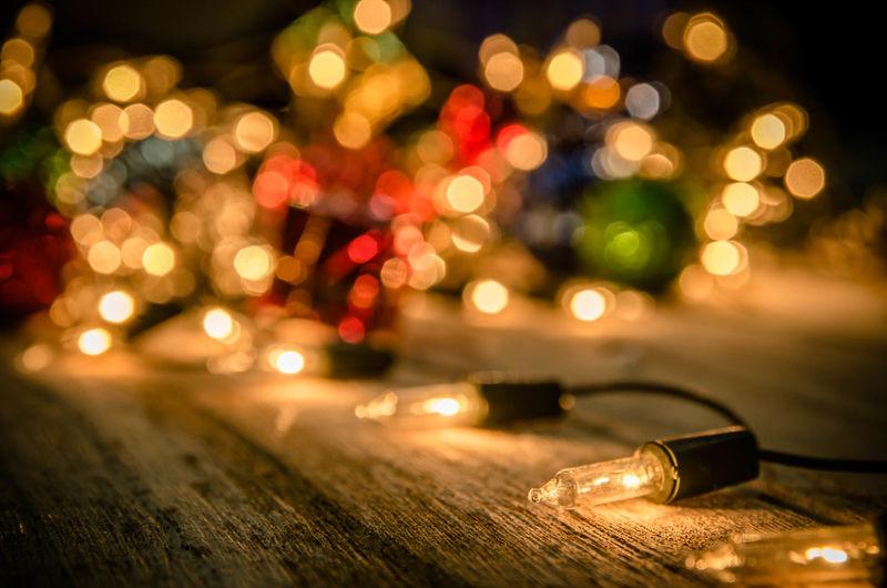 Close-up of illuminated lighting decoration at night