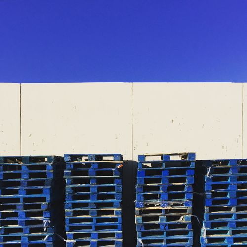 Blue Palettes Urban Palettes Blue In A Row Repetition No People Day Stack Outdoors first eyeem photo
