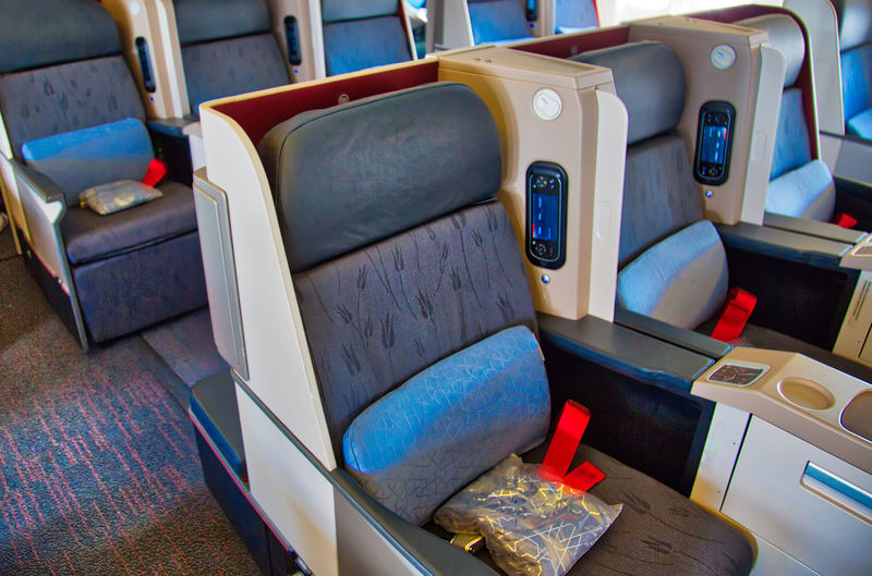 High angle view of empty seats in airplane