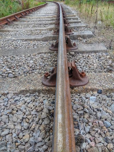 railway track Sand High Angle View Railroad Track Close-up Pebble Gravel Railroad Tie Rail Transportation Train Track Railway Track Parallel Stone
