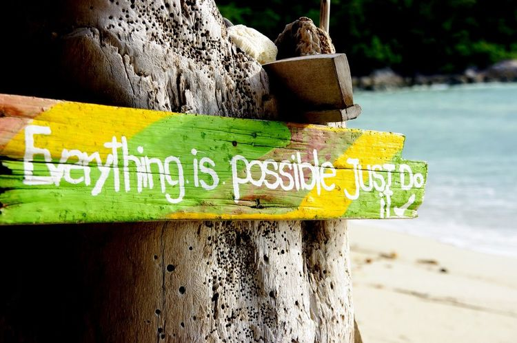 2012 Close-up Day Everything Is Possible Flashback Focus On Foreground Information Information Sign Just Do It Koh Lipe Nature No People Outdoors Pentax K20d Selective Focus Sky Sunset Beach Text Thailand