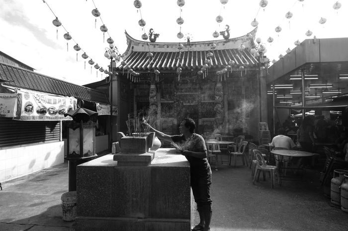 Taoist Temple Chinese Culture Day Heritage Old Buildings Old Temple Praying TaoistTemple Tranditional Chinese Mono Black & White Smock