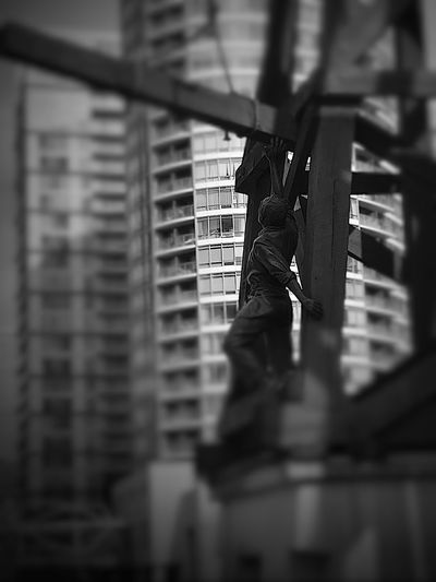 Low angle view of man in building