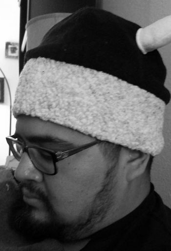 He wears the magic beanie to help heal the flu. Myhusband Candid Photography Going Black & White Monochrome Surreptitious Night Eyemphotography Tucson Arizona  Photography Thephotographer Beanie (: