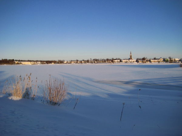 Built Structure Clear Sky Day Outdoors Scenery Sky Snow Sunny Winter Day Town Tranquility Winter