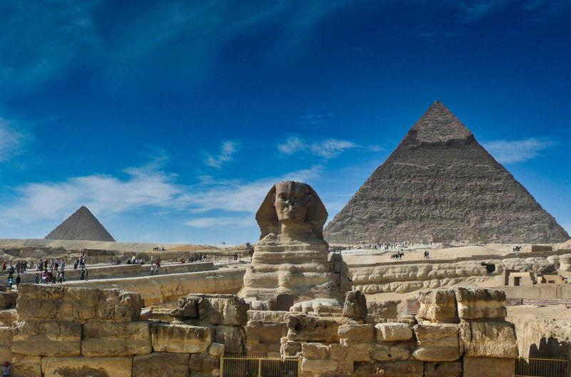 Ancient temple against blue sky