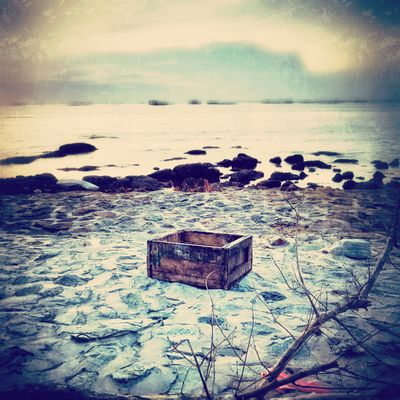 Box on the beach dramatic emotion. Box Sea Water One Object Art Fine Art Photography Beach