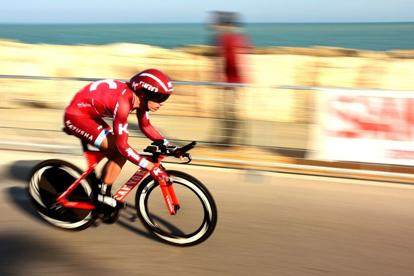 Speed Sports Race Red Helmet Sport Competition Endurance Outdoors Race Tirrenoadriatico Panning Sea Italy Cycling Bicycle Action