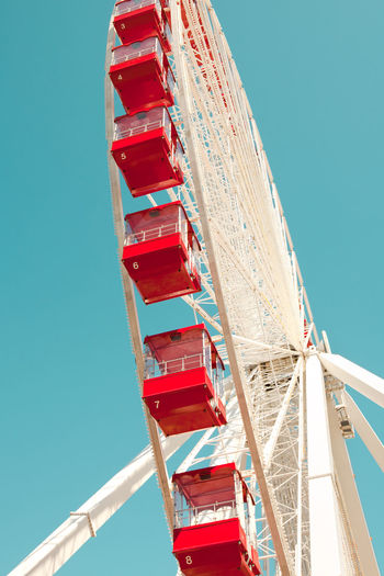 Empty Ferris Wheel Ferris Wheel Amusement Park Amusement Ride Built Structure Clear Sky Day Empty Low Angle View Red