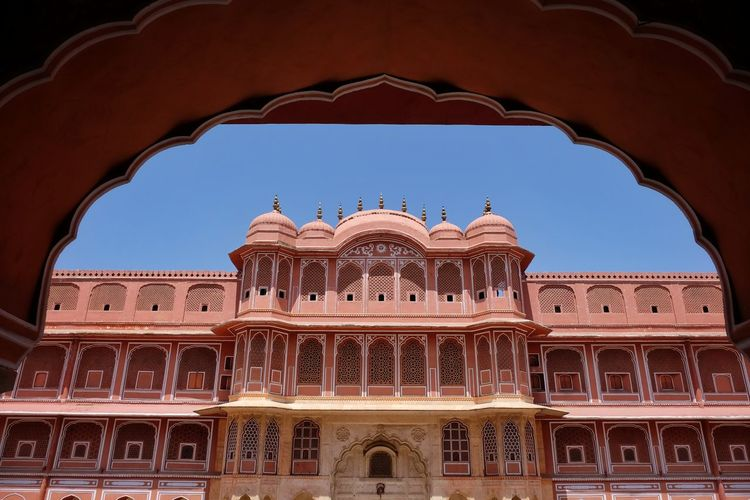 Low angle view of historical building against clear sky