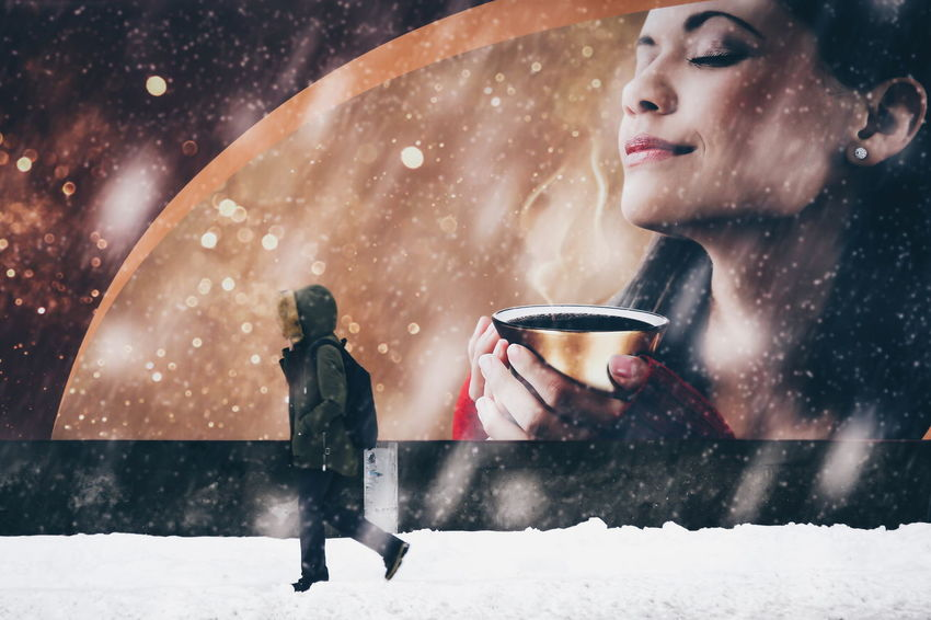 Winter Snow Cold Temperature Snowing Warm Clothing Beauty People Snowflake The Street Photographer - 2017 EyeEm Awards outdoors Streetphotography Street Bilboard