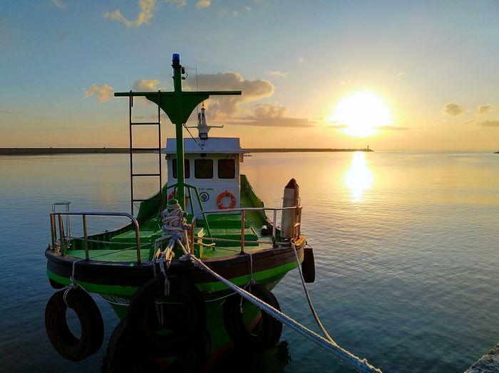Sail The Ocean Water Nautical Vessel Sea Sunset Sunlight Reflection Sky Horizon Over Water Boat Sun Sailing Boat Ocean First Eyeem Photo