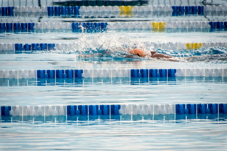 Lane markers in swimming pool