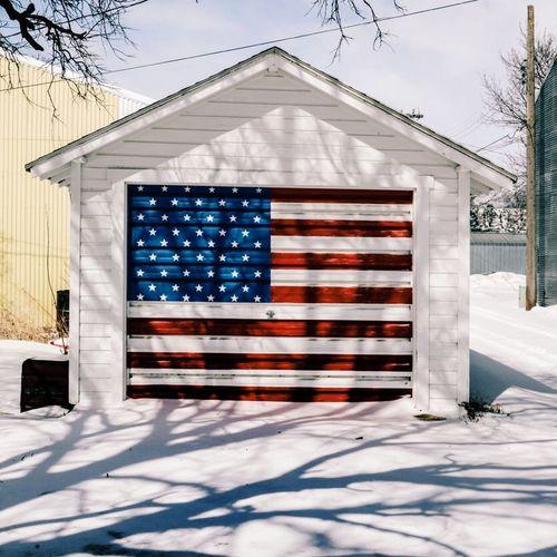 USA Garage Snow American Flag United States Of America