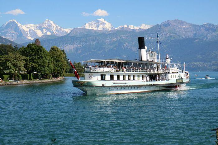 DS Blümlisalp vor Eiger, Mönch und Jungfrau Dampfschiff Lake View Lake Of Thun Jungfrauregion Blümlisalp Eiger Moench Jungfrau Berner Oberland Steamboat