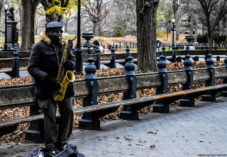 Central Park Cold Temperature Eye4photography  EyeEm Best Shots EyeEm Gallery Jazz Men Music New York Only Men Outdoors Saxophone The Photojournalist - 2017 EyeEm Awards The Great Outdoors - 2017 EyeEm Awards The Great Outdoors - 2017 EyeEm Awards