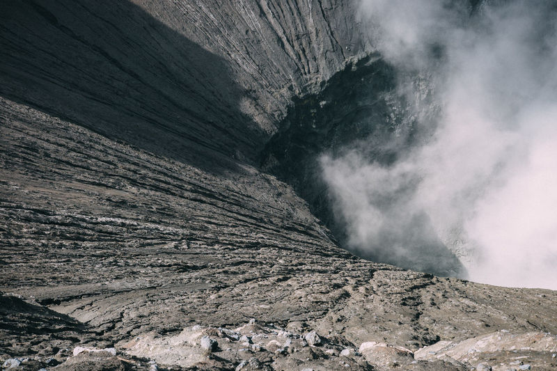 High Angle View Of Smoke Emitting Through Volcanic Landscape At Mt Bromo