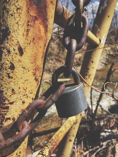 Metal Close-up Chain No People Safety Protection Rusty Day Security Strength Lock Padlock Outdoors Connection Hanging Focus On Foreground Detail Iron Old